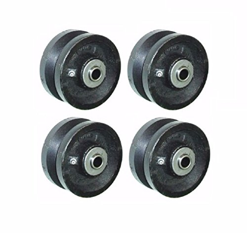 (Set of 4) 6'' x 2'' Cast Iron V-Groove Wheel with 1/2'' ID Roller Bearing VIR-0620