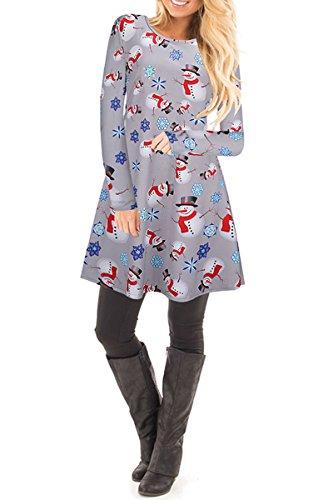 c27ba5e9104a YMING Damen Langarm Kleid Lose T-Shirt Kleid Rundhals Casual Tunika Mini  Kleid 14 Farben