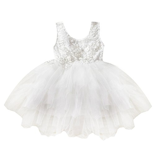 OBEEII Little Girl Lace Flower Beaded Tutu Dress Sleeveless Backless Tiered Princess Wedding Bridesmaid Formal Birthday Party Dresses 3-4 Years 120