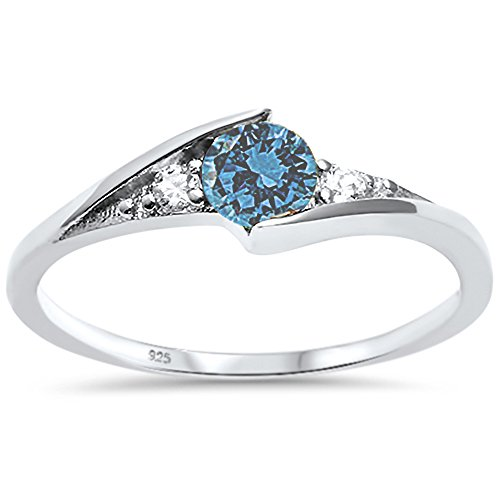 (Oxford Diamond Co Sterling Silver New Round Simulated Aquamarine Solitaire Fashion Ring Sizes 6)