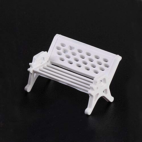 NszzJixo9 2PS Miniature Scene Model, Dollhouse Accessories-Miniature White Park Bank Bench Decor Fairy Ornament Garden