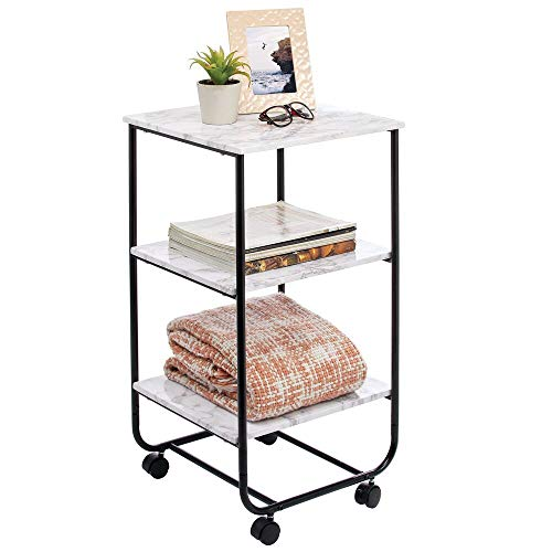 mDesign Metal Wood 3-Tier Rolling Household Storage Cart to use in Bathrooms, Kitchen, Craft Rooms, Laundry Rooms, and…