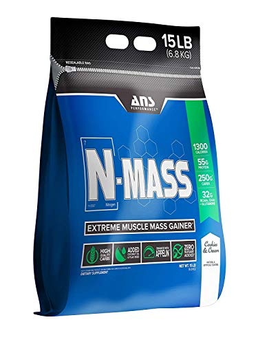 ANS Performance N-Mass Muscle Mass Gainer, Premium Mass Builder For CLEAN (quality) Gains, Cookies & Cream,  15 Pounds