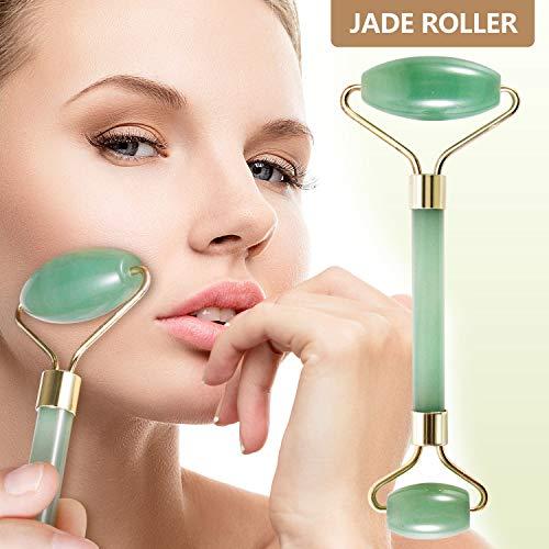 Jade Roller for Face, Real Jade Roller Massager Jade Facial Roller - Anti Aging Face Eye Neck Beauty Roller For Slimming & Firming - Rejuvenate Skin & Remove Wrinkles - Premium Natural Jade 100% Jade -