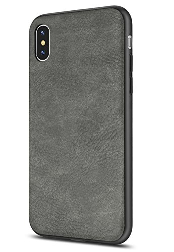 Salawat Compatible iPhone Xs Max Case, Slim PU Leather Vintage Shockproof Phone Case Cover Lightweight Premium Soft TPU Bumper Hard PC Hybrid Protective Case for iPhone Xs Max 2018 (Gray)