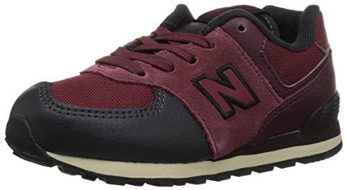 New Balance Boys' Iconic 574 Sneaker, Nubuck Burgundy/Black, 8 M US Toddler