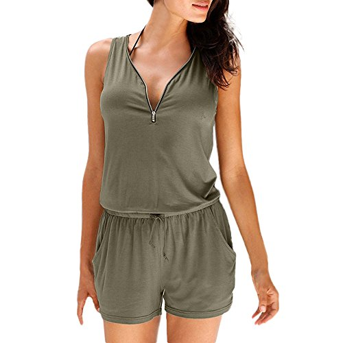 Womens Beach Rompers, Holiday Casual Zipper Mini Playsuit Ladies Summer Solid Sexy Elastic Jumpsuit ❤️Sumeimiya Green ()