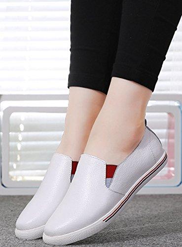 Blanc Femme à Sneakers Loafers Décontracté Aisun Enfiler CO0qdW