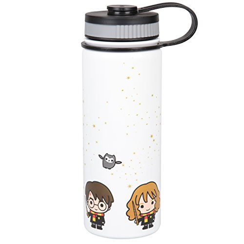 Harry Potter Stainless Steel Water Bottle - With Harry, Ron and Hermione Chibi Character Design - 550ml