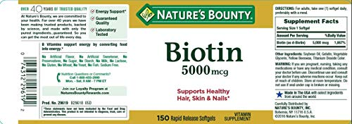 Set of 2 Nature s Bounty Biotin 5000 mcg, 150 Softgels