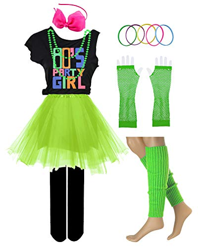 80s Party Girl Pop Rock Star Child 1980s Costume Accessories Fancy Outfits (10/12, Green) -