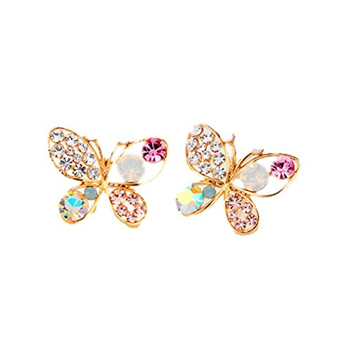Butterfly Stud Earring Set - Hatoys Hollow Colorful Cystal Simulated Pearl Butterfly Stud Earrings (Gold)