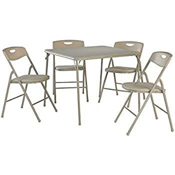 Amazon.com: Cosco 5-Piece Folding Table and Chair Set, Antique Linen ...