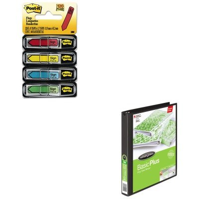 Print Wont Stick D-ring - KITMMM684SHWLJ43341 - Value Kit - Wilson Jones Print-Wont-Stick Flexible Poly Round Ring View Binder (WLJ43341) and Post-it Arrow Message 1/2quot; Flags (MMM684SH)