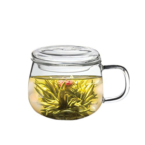 Blooming, Flowering, Jasmine, Lily, Butterfly and Dragon Playing with Pearls Delicious Tea (Clear Borosilicate Glass Cup and 7 Tea Blooms)