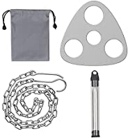 Camping Tripod Board, Stainless Steel Portable Campfire Support Plate with Adjustable Chain and Pocket Size Be