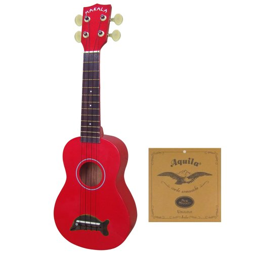 KALA Soprano Uke MK-SD/CAR Candy Apple Red Kit w Aquila Soprano Uke Strings