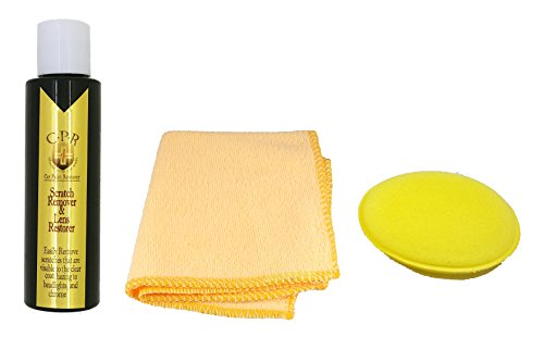 C-P-R - 4 oz. Clear Coat Scratch Remover & Headlight Lens Restorer - Yellow Round Sponge Applicator Buffer Pad & Microfiber Towel - Orange