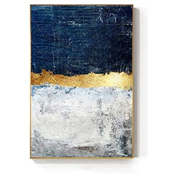 Old street Abstract Gold Foil Block Painting Blue Poster Print Modern Golden Wall Art Picture for Living Room Navy Decor Big Size Tableaux,80X120Cm No Frame,Gold Foil Block B