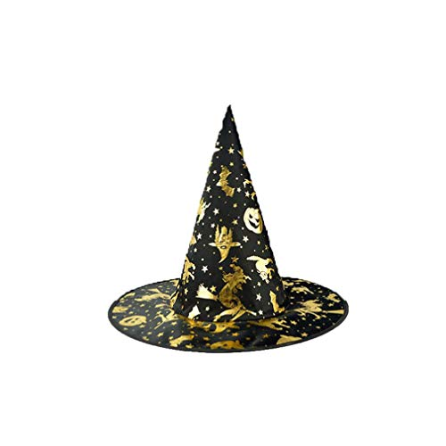 XILALU Wizard Hat Womens, Adult Black Skull Steeple Witch Cap Halloween Costume Accessory Ideal Party,Carnivals