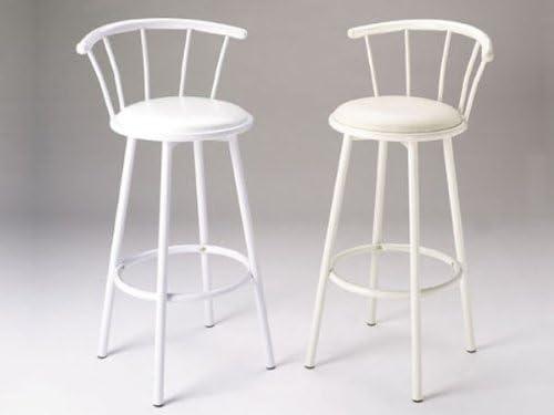 Acme Furniture Set of 2 29″ H Metal Swivel Bar Stools White Finish