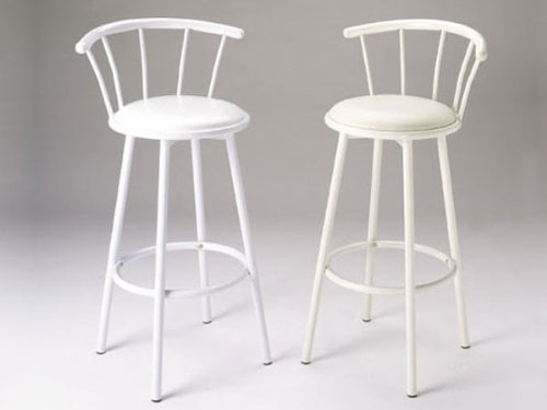 Acme Furniture Set of 2 29 H Metal Swivel Bar Stools White Finish