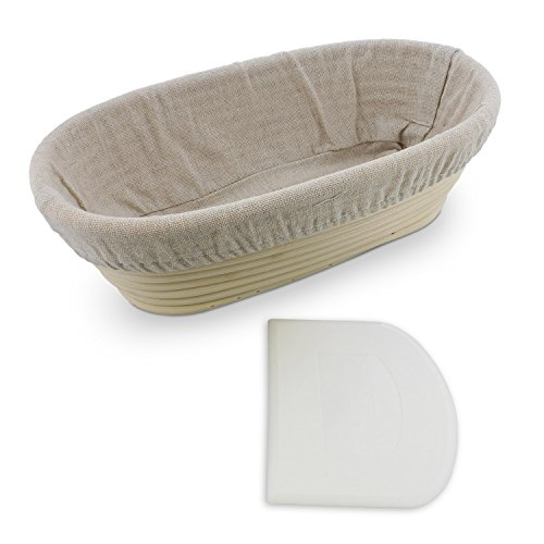 "Rural365 | Oval Proofing Basket 10"" Inch Banneton Bread Proofing Basket Bread Basket with Liner & Dough Scraper by Rural365"