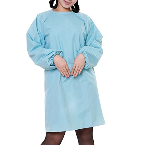Sleeved Front Long (Opromo Womens' Long Sleeved Waterproof Apron Smock with One Front Pocket-Light Blue-L)