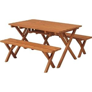 不二貿易 杉材 バーベキューテーブル&ベンチセット (コンロスペース付き) 81761