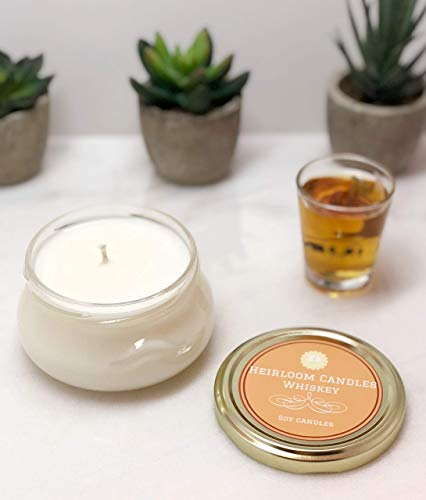 Whiskey Scented Soy Candle in Glass Tureen Handmade, 6oz