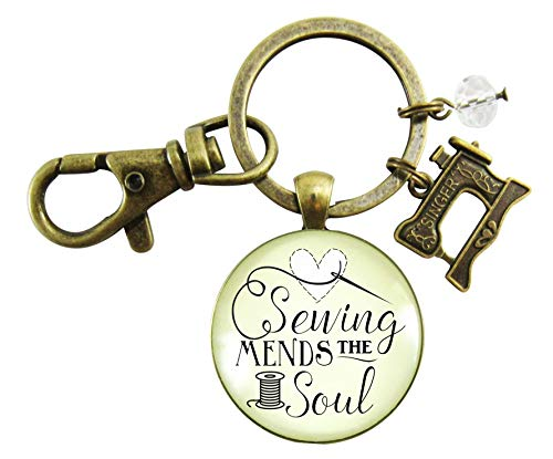 Sewing Keychain Mends the Soul Seamstress Key Ring Bronze Jewelry Sewing Machine Charm from Gutsy Goodness