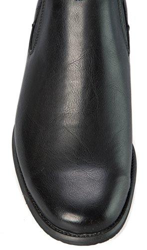 Alberto Fellini Uomo Chelsea-stivali Slip On Stivaletti Alla Caviglia Con Tacco Alto Nero