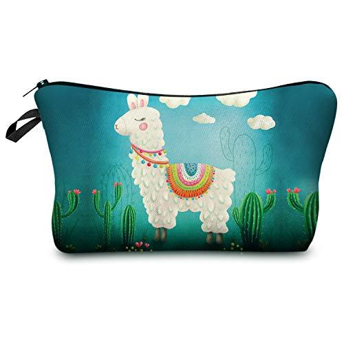 Llamazing Spuer Cute Llama Printed Makeup Bag Cosmetic Pouch Mini Hand Bag (Llama Closed Eyes)