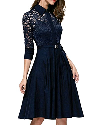 Women Sleeve Party 3 Dress A 4 Pattern1 Line Coolred Through See Lace 67qZwU