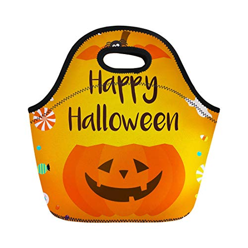 Semtomn Lunch Tote Bag Colorful Bat Happy Halloween Candies Pumpkin Bucket on Orange Reusable Neoprene Insulated Thermal Outdoor Picnic Lunchbox for Men Women -