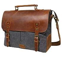 Lifewit 14-15.6 Inch Mens Messenger Bag Waxed Leather Canvas Vintage Computer Work Shoulder Side Bag Carry On Laptop Bag