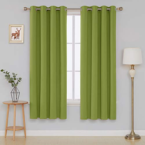 Deconovo Grommet Window Thermal Insulated Bedroom Blackout Curtain, 52x84 Inch, Lime Green (And Curtains Lime Green Black)