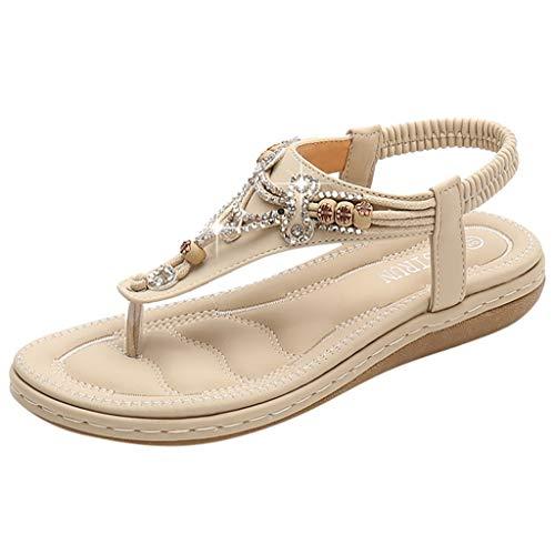 Bohemia Sandals for Women,Summer Casual Flat T-Strap Flip Flop Sparkling Rhinestone Thong Beach Shoes (US:8.5, Khaki)