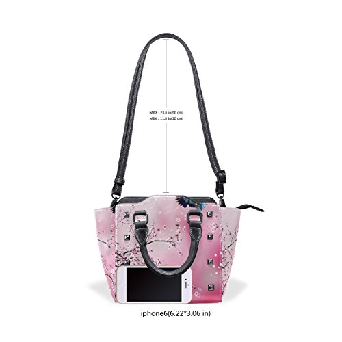 Women's Shoulder Handbags and Leather Tote Blooming TIZORAX Pink Cherry Bags Bird Tree n7PFYqzw