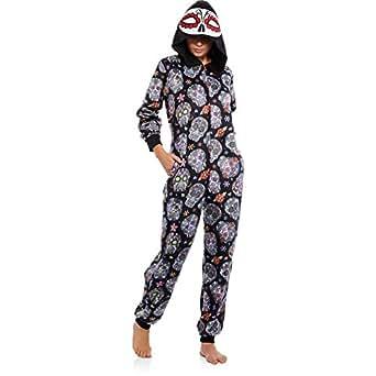 Womens Juniors Day of the Dead Sugar Skulls Union Suit 1 pc Pajamas (Juniors MEDIUM)