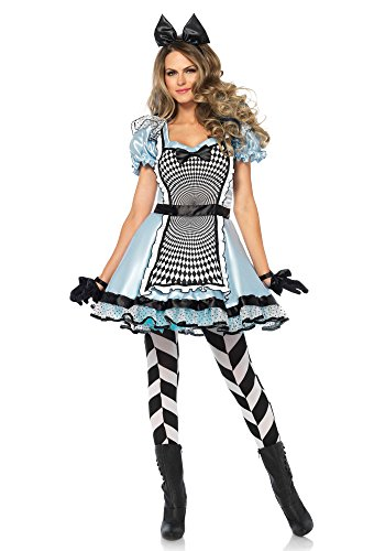 Leg Avenue Women's Hypnotic Alice in Wonderland Halloween Costume, Blue/Black, Large