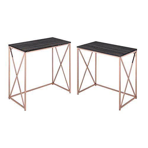 ACME Furniture 90225 Deona 2 Piece Desk Set, Weathered Dark Gray & Rose (Set Traditional Writing Desk)