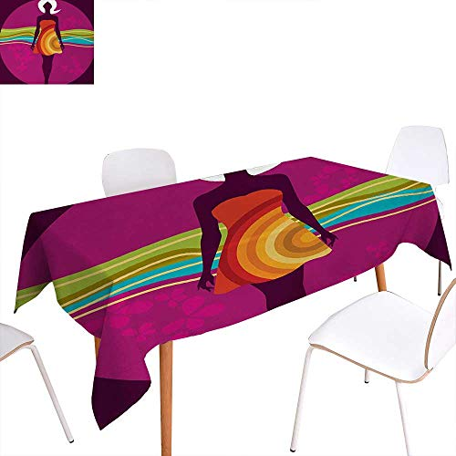 Dot Pintuck Dress (Youth Patterned Tablecloth Young Beauty in an Abstract Dress on Big Pink Dots Wavy Striped Border and Flowers Dust-Proof Oblong Tablecloth 70