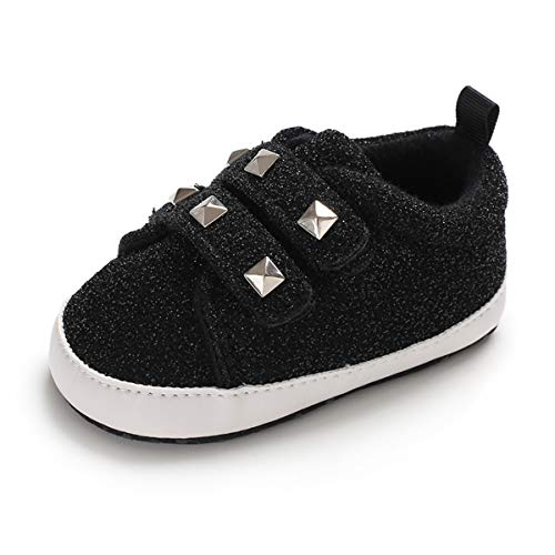 Tutoo Unisex Baby Boys Girls Star High Top Sneaker Soft Sole Newborn Infant First Walkers Canvas Denim Polka Dot Non Slip Bottom Shoes (6-12 Months Infant, A02-sequins Black) ()