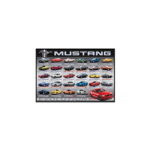 Mustang Evolution Poster - EuroGraphics Ford Mustang Evolution 50th Ls, Wall Décor, Image 12 x 18, Size: 12.5 x 18.5 x 1.5 Framed Art, Various