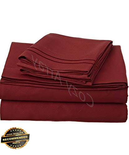 (Werrox 1500 Thread Count 4 Piece Bed Sheet Set Twin Size | Quilt Style QLTR-291266341)