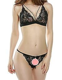 Dawafa Women's Sexy 2 Piece Lingerie Open Cup Crotchless Lace Underwear