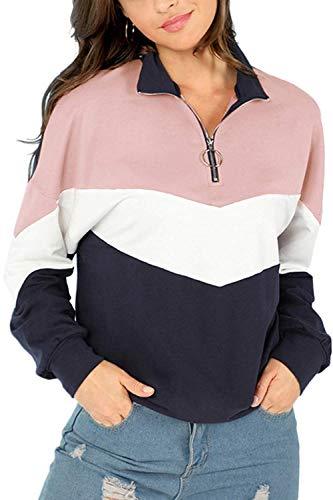 jaune taille pour Colorblock Zhrui couleur à Casual manches petite femmes rose Sweatshirts longues qzwCTwxgP