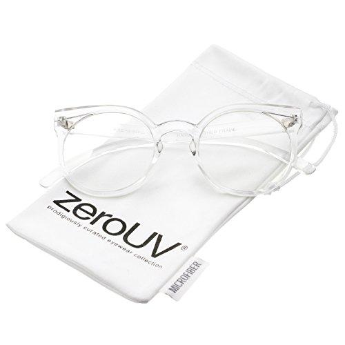 zeroUV - Modern Translucent Keyhole Bridge Round Clear Lens Cat Eye Glasses 50mm (Clear / - Eyeglass Translucent Frames