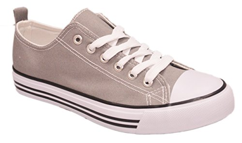 - Shop Pretty Girl Women's Casual Canvas Shoes Solid Colors Low Top Lace up Flat Fashion Sneakers (8, Grey)